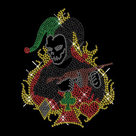 Shining Rhinestone Poker Skull Iron on Motif