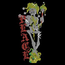 Rhinestone Peace Skull Iron on Motif