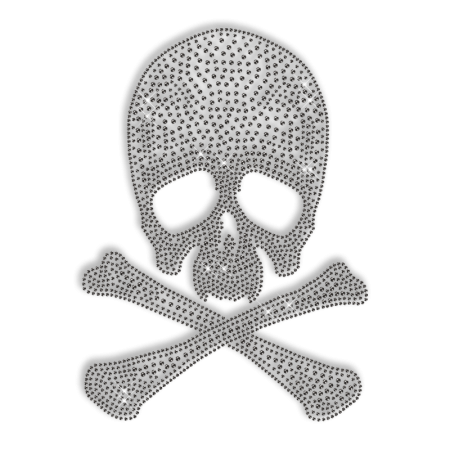 Clear Crystal Skull Iron ons for Clothing