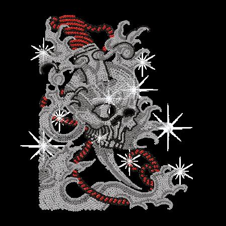 Skull Tattoo Rhinestone Design Iron ons for Clothing