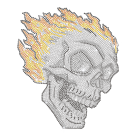 Rhinestud Skull Iron On Design for t shirt