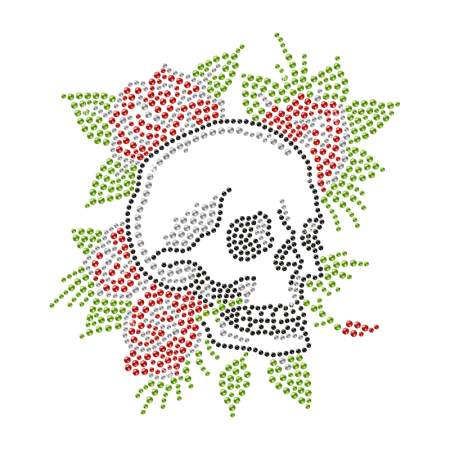 Crystal Roses Skull Deisgn Rhinestone Iron on Transfer