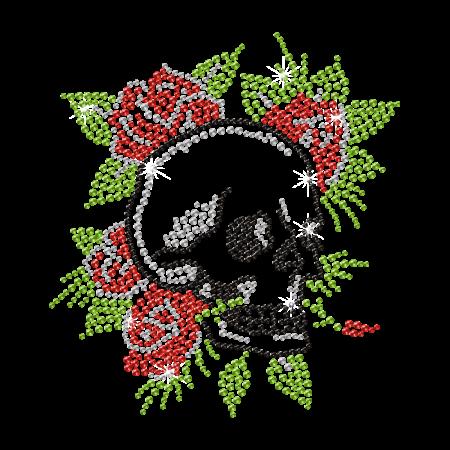 Crystal Roses Skull Deisgn Rhinestone Iron on Transfer