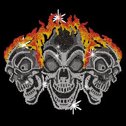 Bomb Iron on Skull Design Crystal Transfer for t shirt