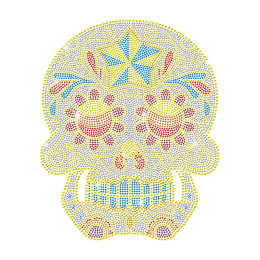 Neon Rhinestud Iron on Skull Transfer Design