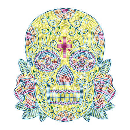 Super Skull Neon Rhinestud Iron On Transfer Design