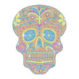 Neon Color Skull Rhinestud Transfer Iron on Design