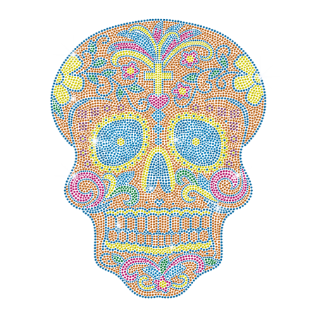 Neon Color Skull Rhinestud Transfer Iron on Design