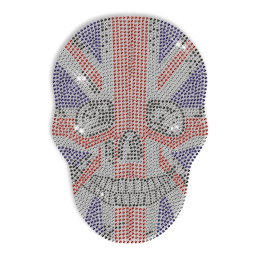 Custom Cool Sparkling American Flag Pattern Skull Rhinestone Iron on Transfer Design for Shirts