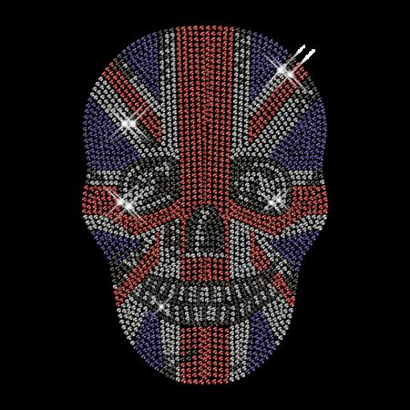 Custom Cool Sparkling American Flag Pattern Skull Rhinestone Iron on Transfer Design for Shirts