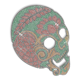 Custom Cool Sparkling Big Skull in Green and Red Rhinestone Iron on Transfer Design for Shirts