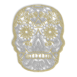 Custom Sparkling Skull in Crystal and Yellow Rhinestud Iron on Transfer Design for Shirts