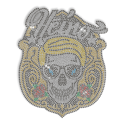 Custom Cool Sparkling Yellow Skull with Sunglasses Rhinestone Iron on Transfer Design for Shirts