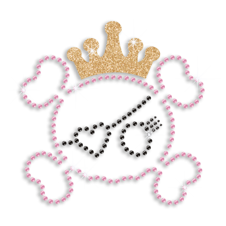 Wholesale Bling Skull Princess Hofix Rhinestone Transfer