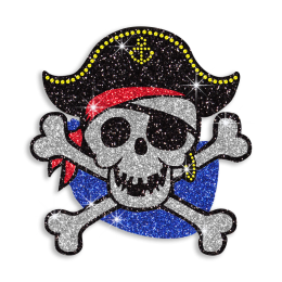 Skull Pirate with Crossbones Glitter Iron on Motif Design