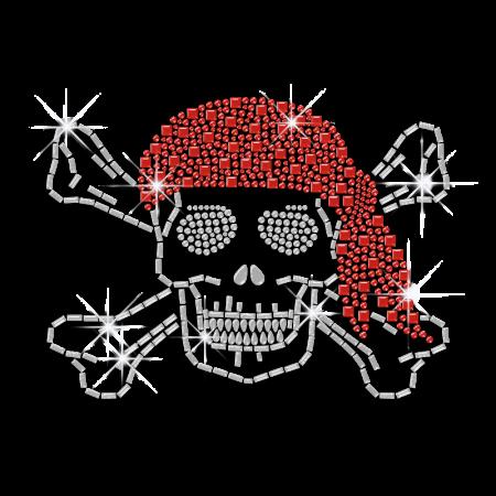 Bling Rrhinestone Skull and Crossbones Iron on Transfers