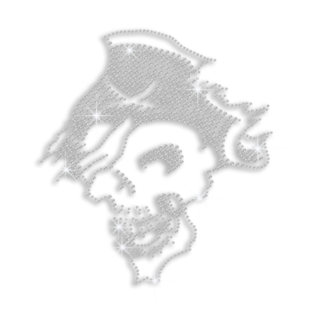 Clear Crystal Bling Hotfix Rhinestone Skull Transfer Pattern
