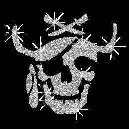 Glitter Motif Design Iron on Skull for Clothing