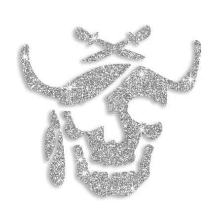 Glitter Motif Design Iron on Skull for Clothing