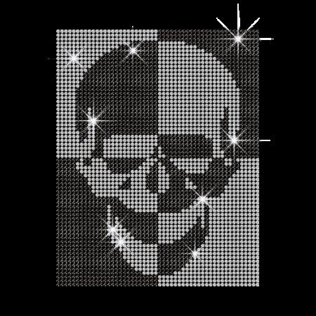 Cool Rhinestone Skull Motif Hotfix Transfer for Clothing