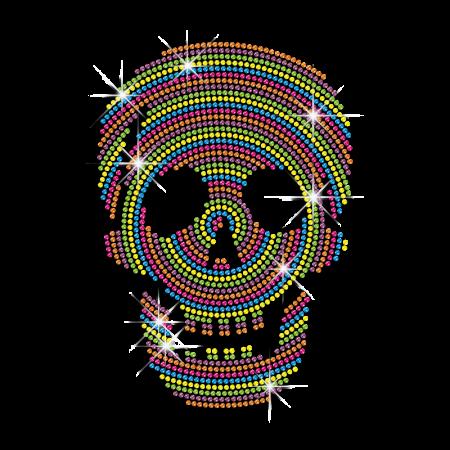 Neon Rhinestud Skull Iron on Clothing Transfer