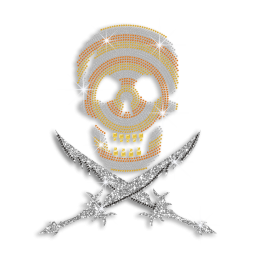 Skull and Cross Sword Rhinestone Custom T shirt Motif