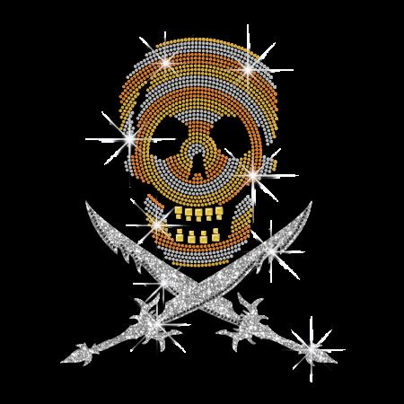 Skull and Cross Sword Rhinestone Custom T shirt Motif