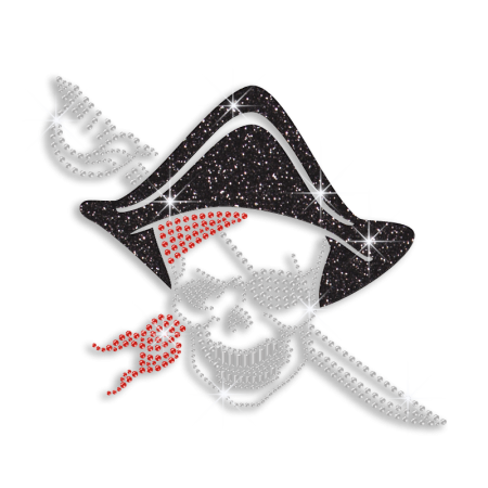 Wholesale Custom Skull Pirate Rhinestone Bling Applique