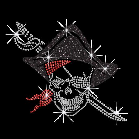 Wholesale Custom Skull Pirate Rhinestone Bling Applique