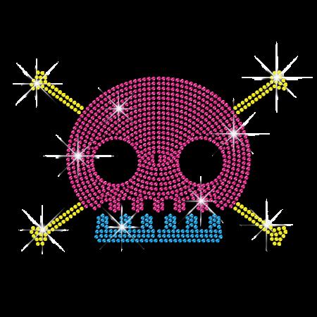 Iron on Diamante Skull Motif Transfer for Tee Shirt