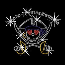 Pirate Swords and Skull Rhinestone Diamante Transfer