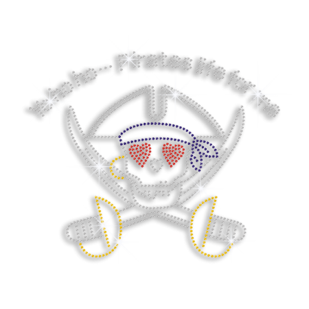 Pirate Swords and Skull Rhinestone Diamante Transfer