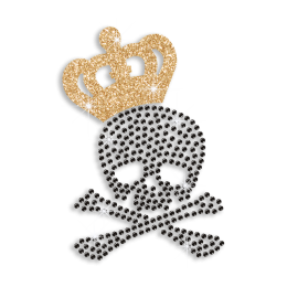 Cool Skull in Crown Heat Press Glitter Rhinestone Transfer