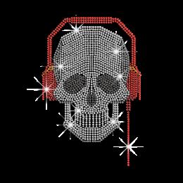 Cool Skull Listen to Music Iron-on Rhinestone Transfer