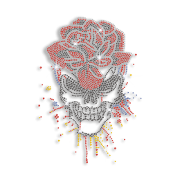 Cool Bling Floral Skull Hot-fix Rhinestone Transfer