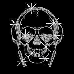 Crystal Skull Listen to Music Iron-on Rhinestone Transfer