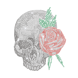 Bling Rose Skull Iron-on Rhinestone Transfer