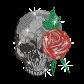 Bling Rose Skull Iron-on Rhinestone Transfer