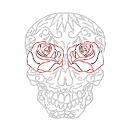 Crystal Floral Rose Skull Iron on Rhinestone Transfer