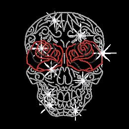 Crystal Floral Rose Skull Iron on Rhinestone Transfer