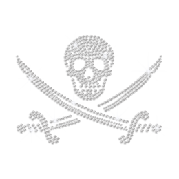 Crystal Pirate Skull Hot Fix Rhinestone Transfer