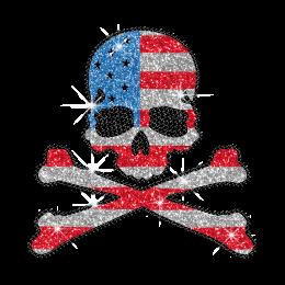 Bling US Flag Skull Glitter Rhinestone Transfer