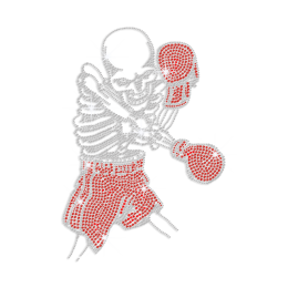Bling Skull Boxing Iron-on Rhinestone Transfer