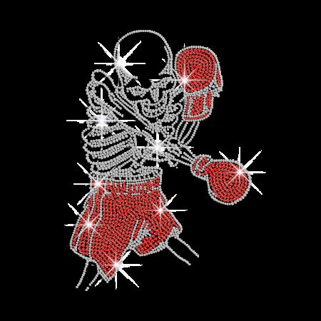 Bling Skull Boxing Iron-on Rhinestone Transfer