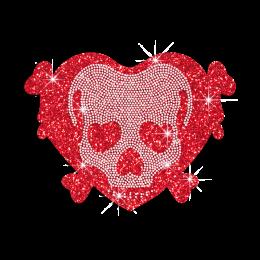 Red Skull in Heart Glitter Nailhead Iron-on Transfer