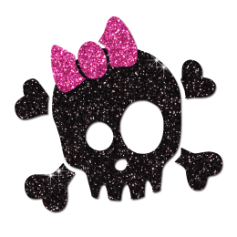 Black Skull in Bowknot Iron-on Glitter Transfer