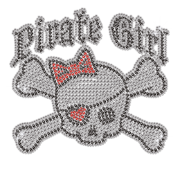 Cool Pirate Girl Skull Iron-on Rhinestone Transfer