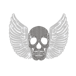 Winged Black Skull Hotfix Rhinestone Transfer Design