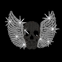 Winged Black Skull Hotfix Rhinestone Transfer Design