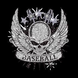 Cool Winged Skull & Baseball Hotfix Glitter Transfer